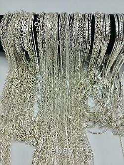 100 Piece Bulk Chain Assortment Sterling Silver Finish MADE IN USA