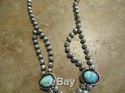 16 1/2 FINE Vintage Navajo Sterling Silver Turquoise HAND MADE Bead Necklace
