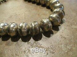 16 DYNAMITE Vintage Navajo Hand Made Sterling PEARLS Bench Bead Necklace