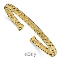 18k Yellow Gold Sterling Silver Italian Made Cable Cuff Woven Bangle Bracelet
