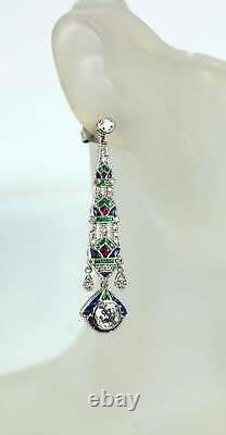 1920's Made In 925 SS & Feature Emeralds, Ruby, Sapphires & CZ Vintage Earrings