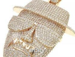 2.18 ct Round Sim Diamond Men's Custom Made Pendant 14k Yellow Gold Over Silver