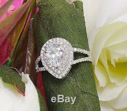 3.00c Pear Prong Engagement Ring Man Made Diamond Simulant Sterling Silver. 925
