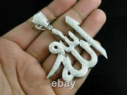 3Ct Round Diamond Custom Made Allah Arabic Islamic Pendant 14k White Gold Over