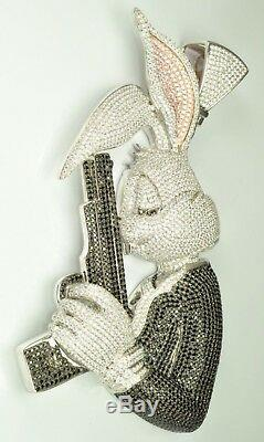 4 Long Rabbit man wit GunHand made 925 Sterling Silver CZ Pendent Free Ship