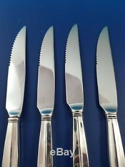 4 Royal Danish by International Sterling Serrated Steak Knives Custom Made