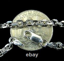 4MM Solid 925 Sterling Silver Italian Anchor Link Cable Chain, Made in Italy