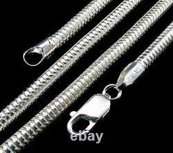 4MM Solid 925 Sterling Silver Italian ROUND SNAKE Chain Necklace Made In Italy