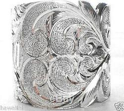 50mm Hawaiian Sterling Silver Custom Made Double Regal Personalized Bangle 7.75