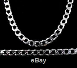 7MM Solid 925 Sterling Silver Italian CUBAN CURB Men's Chain Made in Italy