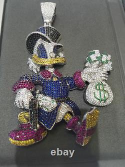 925 Real Silver Custom-Made Scrooge Donald Duck Cartoon McDuck Gemstones Pendant