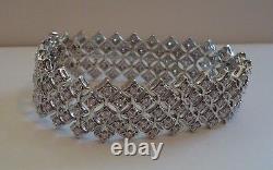 925 STERLING SILVER DESIGNER ITALIAN MADE TENNIS BRACELET With 4 CT DIAMONDS