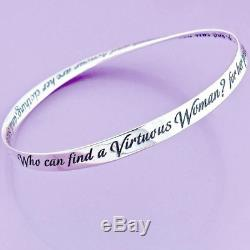 925 STERLING SILVER Proverbs 31 Mobius Bangle Bracelet Made in the USA