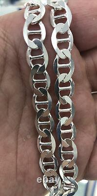 925 Sterling Silver 7.5MM Mariner Chain Necklace Made in Italy