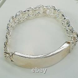 925 Sterling Silver Men's ID Bracelet Hand Made Twisted Links 14 mm 72.3 grams