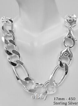 925 Sterling Silver THICK SOLID FIGARO Link Chain Necklace, Made in Italy