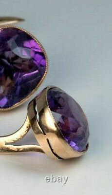 A Pair of Antique Amethyst and 14k Yellow Gold Over Cufflinks Made in 1899 Men's