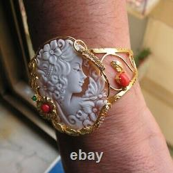 ANTIQUE STYLE CAMEO BRACELET WORKED HAND Vintage Artisan made in italy woman