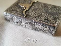 AUTH Made In 2000 5-Sided Carving 10K 10 Gold Ruby Sterling Silver Zippo