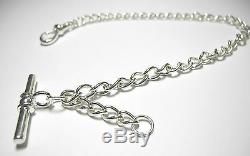 Albert Chain Solid Sterling Silver Pocket Watch Single Curb Made in UK FA48