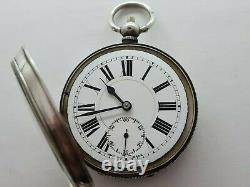 Antique 1890 Swiss Made 18S Solid Silver 925 Pocket Watch Needs Repair Rare