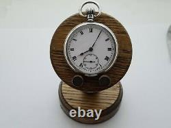 Antique 1920 Swiss Made Solid Silver Pocket Watch With Wooded Stand Working