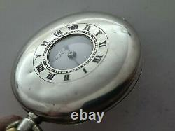 Antique 1930 Swiss Made Half Hunter Solid Silver Pocket Watch Working Rare
