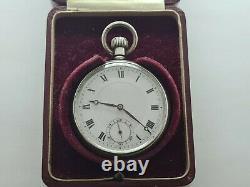 Antique 1932 Swiss Made Solid Silver Pocket Watch Original Box Working Rare