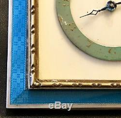 Antique Art Deco Swiss Made Sterling Silver & Blue Guilloche Enamel Travel Clock