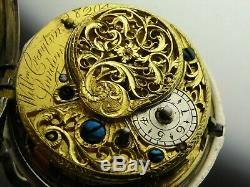 Antique English verge Fusee key wind pocket watch. Sterling silver. Made 1771