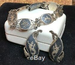 Antique Estate Sterling Silver Bracelet & Earring Set Made In Siam Nielloware