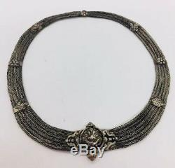 Antique Ethnic Tribal Sterling Silver Hand Made Face Necklace