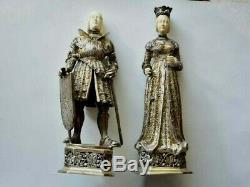 Antique German Made Sterling Silver Figurine Set Knight & Queen, Hanau Statue