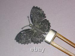 Antique Hand Made Sterling Filigree And Celluloid Butterfly Hair Comb