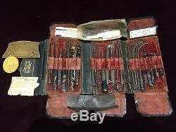 Antique LUER Dr. Baril Large Surgery Kit Made of Steel Sterling Silver and Shell