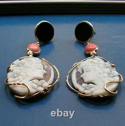 Antique Large Silver Yellow Lady Shell Drop Cameo Hanging Earrings Made In Italy
