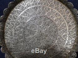 Antique Magnificent Hand-Made Silver Filigree Plate Tray Edged, 416 Grams