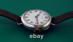 Antique ROLEX Military WWI Sterling Silver Trench Watch Made in 1917 VINTAGE