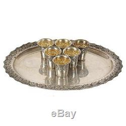 Antique Silver Repouse Wine Set of 6 Shot Cups & Tray Made of Sterling Silver