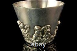 Antique Sterling Hand Made Cupid Repousse Decoration Cup Goblet A802-988