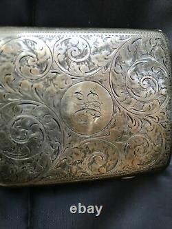 Antique Sterling Silver Cigarette / Card Case Made By C & S (Clark & Sewell)