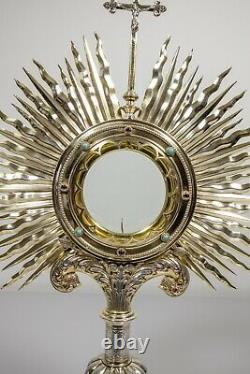 Antique Sterling silver monstrance made by Bourdon 1903 in box chalice vestment