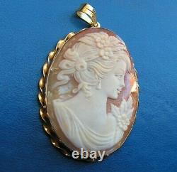 Antique Style Carved Shell Cameo Pendent Made in Italy