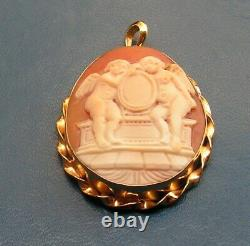 Antique Style Victorian High Relief Italian Shell Cameo/pendant Made In Italy