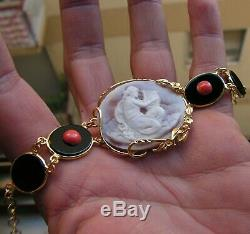 Antique Style Victorian Shell Cameo Bracelet + Coral Red Made In Italy
