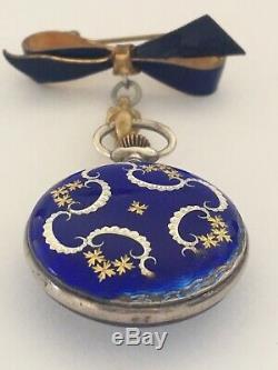 Antique Victorian Blue Enamel Silver Swiss Made Broach / Fob Watch