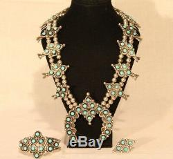 Antique Vintage Old Turquoise Squash Blossom Native American Made Necklace