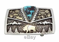 Arland Ben, Buckle, 14k Gold, Silver, Buffalo, Bisbee Turquoise, Navajo Made, 1.5