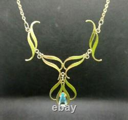 Art Nouveau Necklace. Gilded Silver. Blue Crystal. Made in 1910's in Vienna