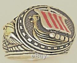 Artisan made 10 Karat Gold Viking Longship Mens sterling silver ring